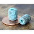 9x7mm Thick Barrel Metalized Ceramic Beads, Green Patina, Pack of 3