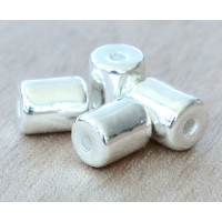 9x7mm Thick Barrel Metalized Ceramic Beads, Silver Plated, Pack of 5