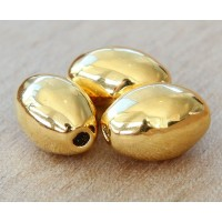 15x7mm Oval Metalized Ceramic Beads, Gold Plated