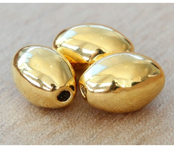 15x7mm Oval Metalized Ceramic Beads, Gold Plated, Pack of 3