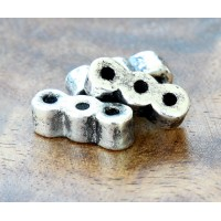 20x7mm 3-Hole Spacer Metalized Ceramic Bead, Antique Silver