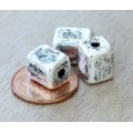 10x8mm Brick Metalized Ceramic Beads, Antique Silver