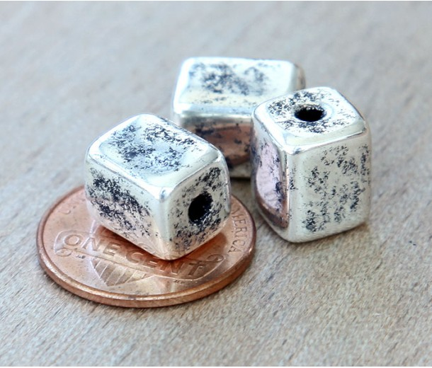 10x8mm Brick Metalized Ceramic Beads, Antique Silver, Pack of 4