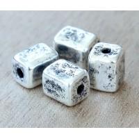 8x10mm Brick Metalized Ceramic Beads, Antique Silver