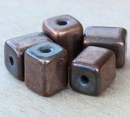 10x8mm Brick Metalized Ceramic Beads, Bronze Plated