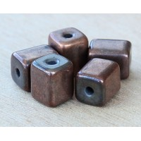 10x8mm Brick Metalized Ceramic Beads, Bronze Plated, Pack of 6