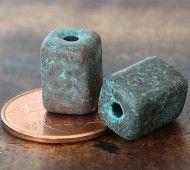 10x8mm Brick Metalized Ceramic Beads, Green Patina