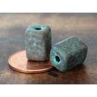 10x8mm Brick Metalized Ceramic Beads, Green Patina, Pack of 6