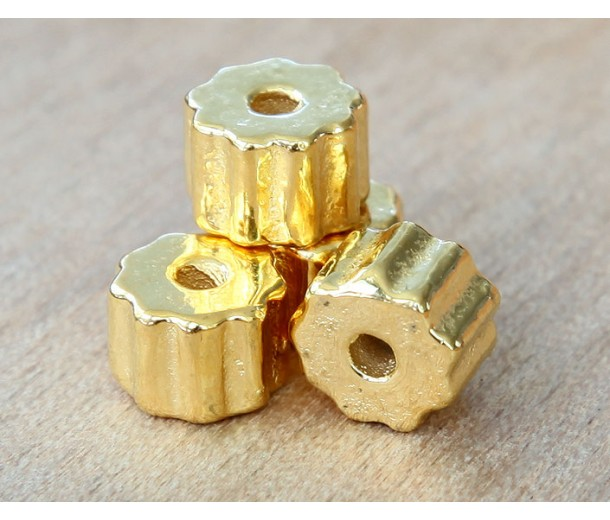 8x6mm Fluted Barrel Metalized Ceramic Beads, Gold Plated, Pack of 3