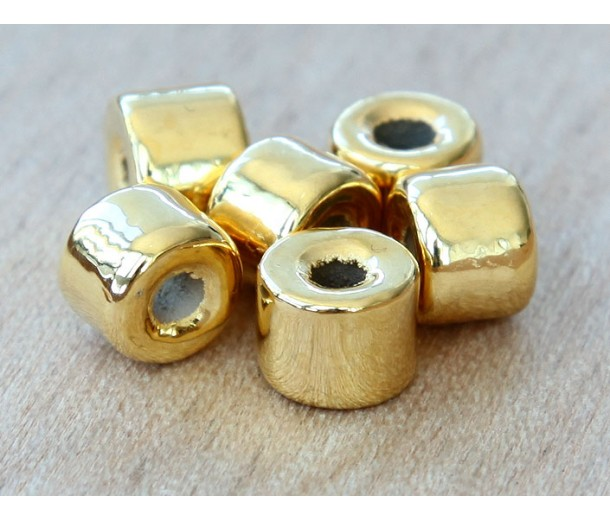 8x7mm Short Barrel Metalized Ceramic Beads, Gold Plated, Pack of 8