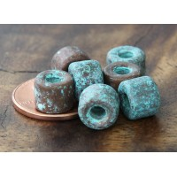 8x7mm Short Barrel Metalized Ceramic Beads, Green Patina