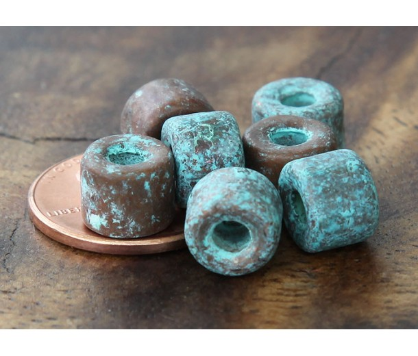 8x7mm Short Barrel Metalized Ceramic Beads, Green Patina