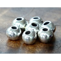 8mm Round Metalized Ceramic Beads, Antique Silver, Pack of 6