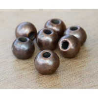 8mm Round Metalized Ceramic Beads, Bronze Plated, Pack of 6