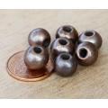8mm Round Metalized Ceramic Beads, Bronze Plated
