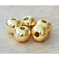 8mm Round Metalized Ceramic Beads, Gold Plated, Pack of 4