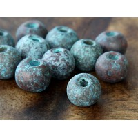 8mm Round Metalized Ceramic Beads, Green Patina