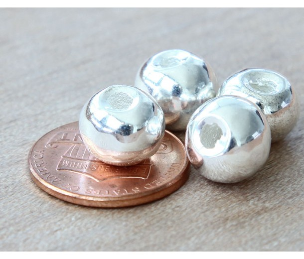8mm Round Metalized Ceramic Beads, Silver Plated