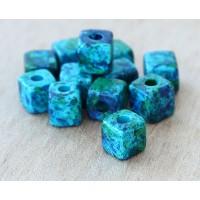 7mm Cube Matte Ceramic Beads, Blue Green Mix