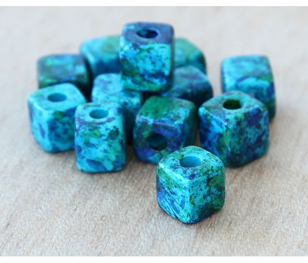 7mm Cube Matte Ceramic Beads, Blue Green Mix