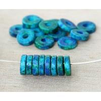 8mm Round Heishi Disk Matte Ceramic Beads, Blue Green Mix