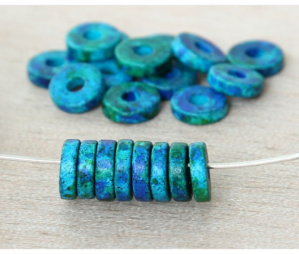 8mm Round Heishi Disk Matte Ceramic Beads, Blue Green Mix, Pack of 20