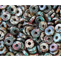 8mm Round Heishi Disk Matte Ceramic Beads, Speckled Mix