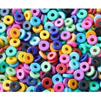 8mm Round Heishi Disk Matte Ceramic Beads, Bright Assortment