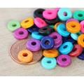 8mm Round Heishi Disk Matte Ceramic Beads, Bright Assortment
