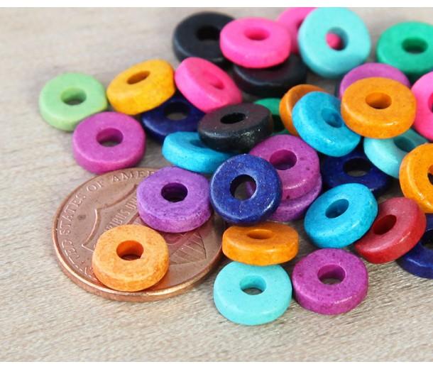 8mm Round Heishi Disk Matte Ceramic Beads, Bright Assortment, Pack of 20