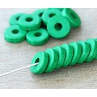8mm Round Heishi Disk Matte Ceramic Beads, Green
