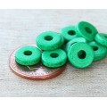 8mm Round Heishi Disk Matte Ceramic Beads, Green, Pack of 20