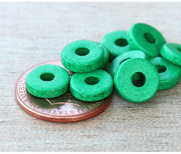 8mm Round Heishi Disk Matte Ceramic Beads, Green, Pack of 20