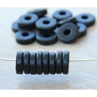 -8mm Round Heishi Disk Matte Ceramic Beads, Black, Pack of 20