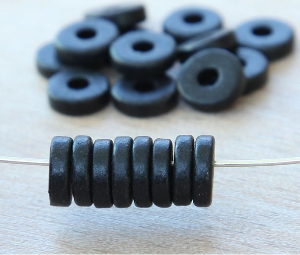 8mm Round Heishi Disk Matte Ceramic Beads, Black, Pack of 20