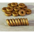 8mm Round Heishi Disk Matte Ceramic Beads, Brassy Metallic, Pack of 20