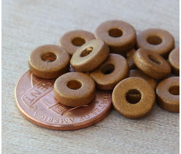 8mm Round Heishi Disk Matte Ceramic Beads, Brassy Metallic, Pack of 20