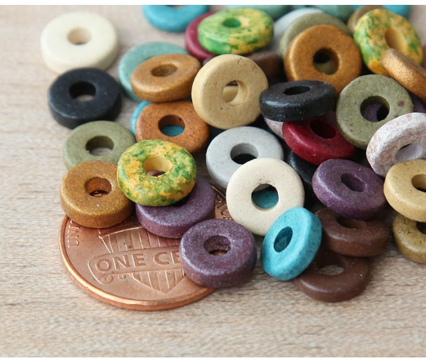 8mm Round Heishi Disk Matte Ceramic Beads, Earthy Assortment