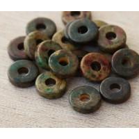 8mm Round Heishi Disk Matte Ceramic Beads, Dark Olive Mix, Pack of 20
