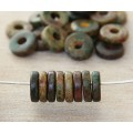 8mm Round Heishi Disk Matte Ceramic Beads, Dark Olive Mix, Pack of 20