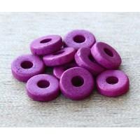 8mm Round Heishi Disk Matte Ceramic Beads, Dark Orchid