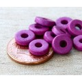 8mm Round Heishi Disk Matte Ceramic Beads, Dark Orchid, Pack of 20