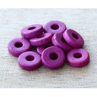 8mm Round Heishi Disk Matte Ceramic Beads, Dark Orchid, Pack of 20