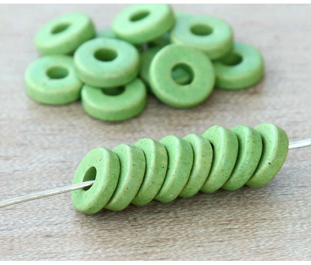8mm Round Heishi Disk Matte Ceramic Beads, Pastel Green