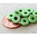 8mm Round Heishi Disk Matte Ceramic Beads, Pastel Green, Pack of 20