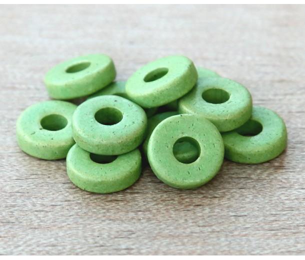 8mm Round Heishi Disk Matte Ceramic Beads, Pastel Green, Pack of 20