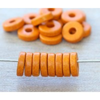 8mm Round Heishi Disk Matte Ceramic Beads, Orange, Pack of 20
