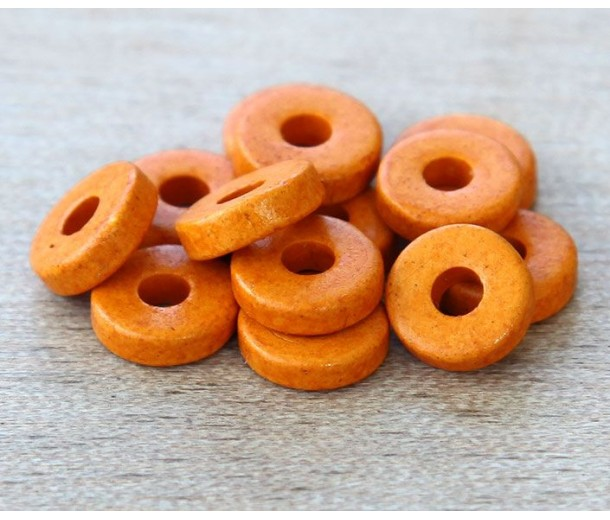 8mm Round Heishi Disk Matte Ceramic Beads, Orange, Pack of 20