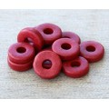 8mm Round Heishi Disk Matte Ceramic Beads, Red, Pack of 20