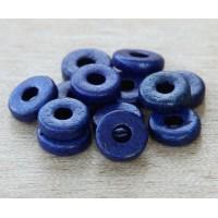 8mm Round Heishi Disk Matte Ceramic Beads, Royal Blue
